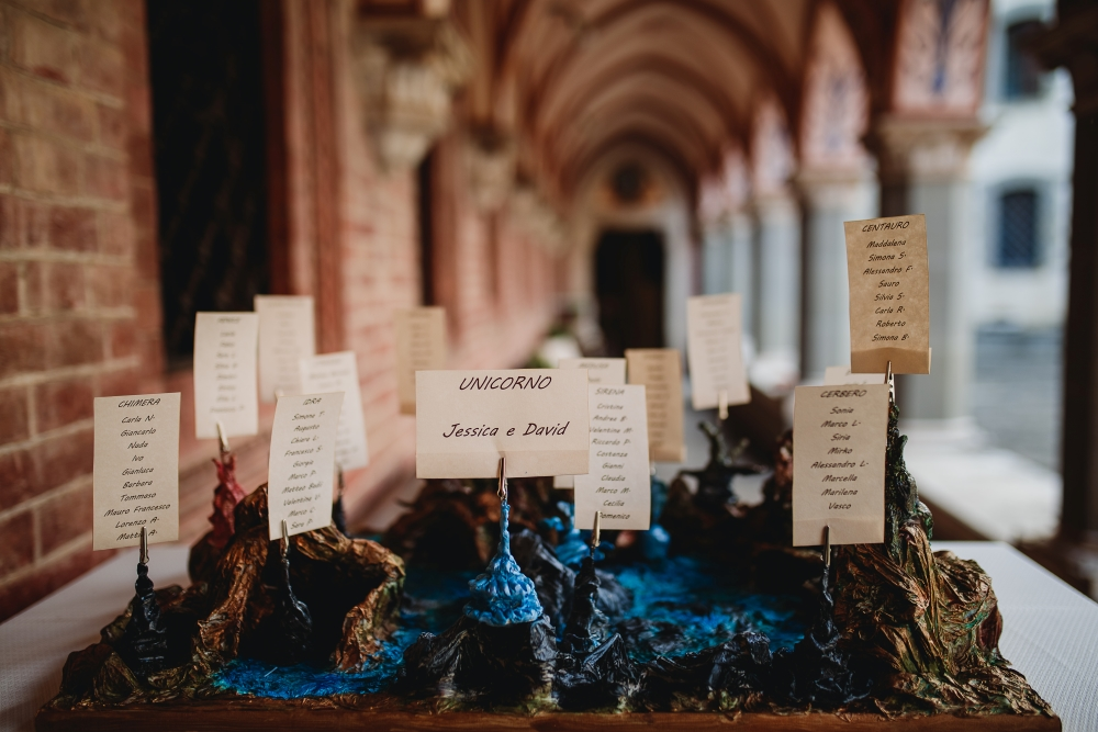 A table plan made from role-playing games miniatures, at a castle wedding