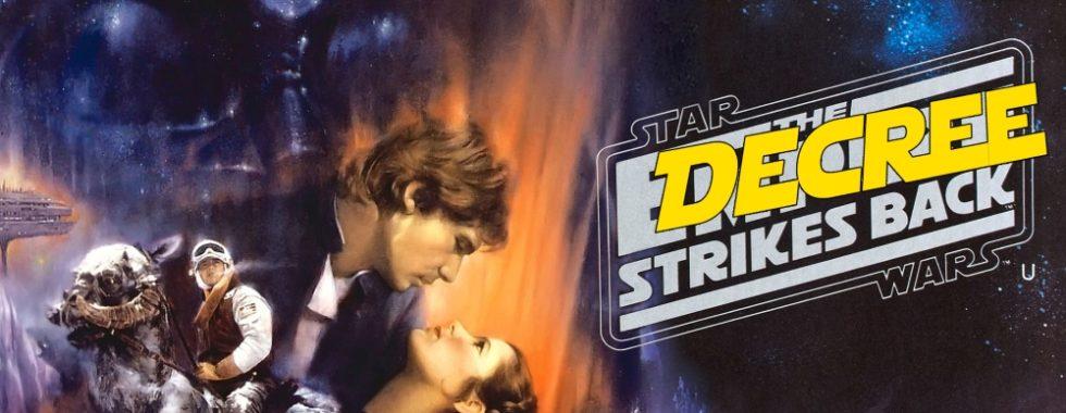 Immagine della locandina di Star Wars - L'Impero colpisce ancora, con scritto Coronavirus Wars, the decree strikes back e Darth Decree su Darth Vader