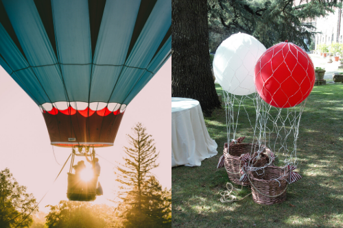 Two images: on the left, a detail of a real hot air balloon at the sunset, on the right two helium balloons tied to wicker baskets with a net, resembling small hot air balloons