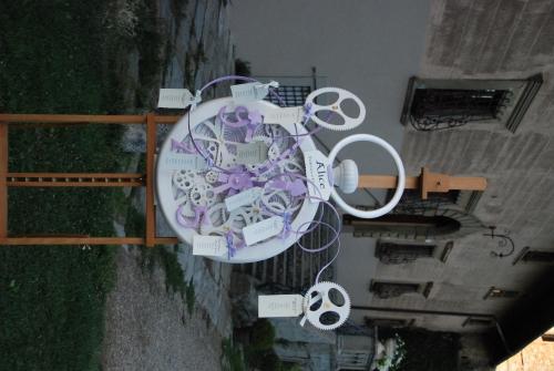 Tableau de mariage - Orologio a Cipolla bianco con ingranaggi impazziti ispirato a quello del Bianconiglio
