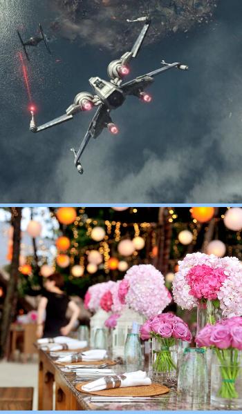 Un X-Wing ed un Tie Fighter in volo sopra, e sotto un tavolo allestito con rose e ortensie rosa.