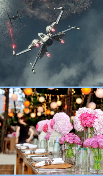 An X-Wing and a Tie Fighter in flight in the upper half, and a table with a pink roses and hydrangeas decor