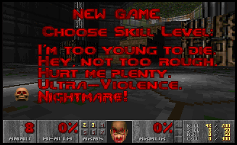 The screen of the videogame Doom with the Nightmare! Mode selected for Getting Engaged