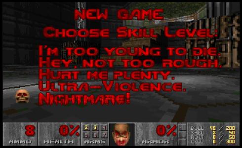 Schermata in inglese del videogioco Doom con selezionata la modalità Nightmare, come se fosse la modalità per le proposte di matrimonio